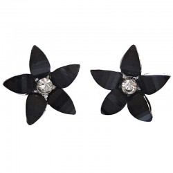 Women Floral Costume Jewellery, Fashion Black Lucky Flower Large Stud Earrings