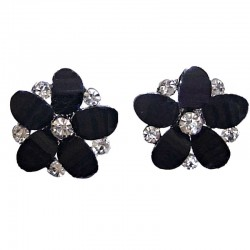 Women Costume Jewellery, Black Rhinestone Clear Diamante Daisy Fashion Flower Stud Earrings