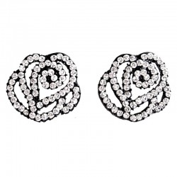 Flower Costume Jewellery, Fashion Women Gift, Clear Diamante Rose Large Stud Earrings