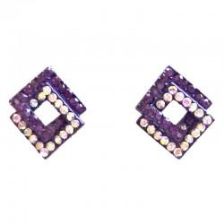 Costume Jewellery Earring Studs, Fashion Purple & Rainbow Diamante Double Rhombus Stud Earrings