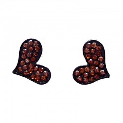 Fashion Young Women Costume Jewellery, Girls Earring Studs, Brown Diamante Pave Heart Stud Earrings