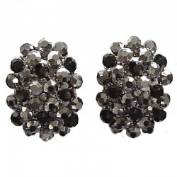 Chic Fashion Women Costume Jewellery Earring Studs, Black Diamante Pave Bold Oval Large Stud Earrings