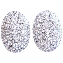 Chic Fashion Women Costume Jewellery Earring Studs, Clear Diamante Pave Oval Large Stud Earrings