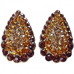 Chic Fashion Women Costume Jewellery, Bold Earring Studs, Brown Diamante Pave Teardrop Large Stud Earrings