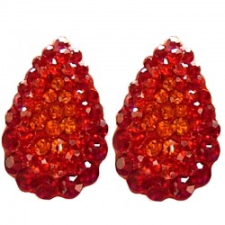 Chic Fashion Women Costume Jewellery, Bold Earring Studs, Red Diamante Pave Teardrop Large Stud Earrings