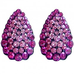 Chic Fashion Women Costume Jewellery, Bold Earring Studs, Pink Diamante Pave Teardrop Large Stud Earrings