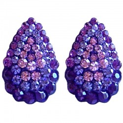 Chic Fashion Women Costume Jewellery, Bold Earring Studs, Purple Diamante Pave Teardrop Large Stud Earrings
