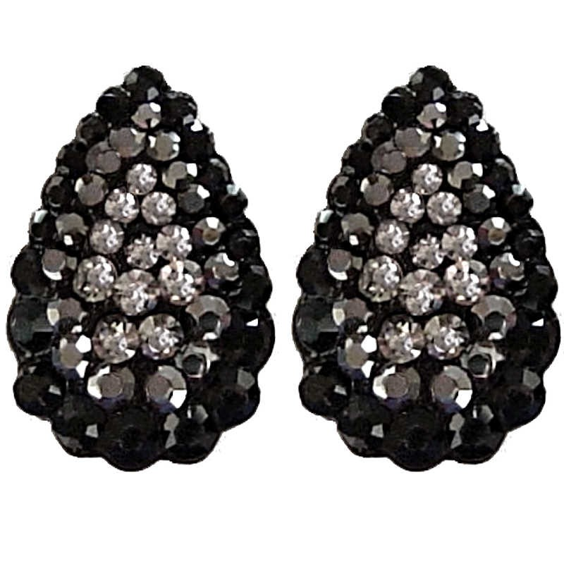 Chic Fashion Women Costume Jewellery Bold Earring Studs Black Diamante Pave Teardrop Large Stud Loading Zoom