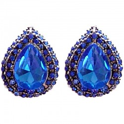 Chic Fashion Women Costume Jewellery, Bold Earring Studs, Large Royal Blue Diamante Teardrop Stud Earrings