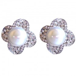 Bold Costume Jewellery, Big Fashion Earring Studs, Large Beige Pearl Clear Diamante Lucky Flower Stud Earrings