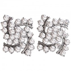 Fashion Women Costume Jewellery, Fancy Cool Bold Earring Studs, Clear Diamante Hurriance Large Stud Earrings