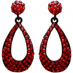 Bridal Costume Jewellery, Fashion Women Wedding Party Dress Gift, Burgundy Diamante Pave Teardrop Drop Earrings