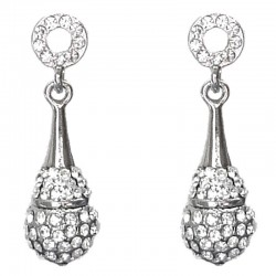Classy Fashion Costume Jewellery, Women Gift, Clear Diamante Round Teardrop Drop Earrings
