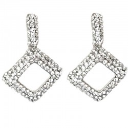 Cool Fashion Dressy Costume Jewellery, Women Gift, Clear Diamante Rectangle Rhombus Drop Earrings