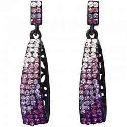 Cool Bling Fashion Costume Jewellery, Young Women Gift, Purple Diamante Bling Rectangle Drop Earrings