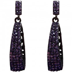Cool Fashion Costume Jewellery, Trendy Women Gift, Violet Diamante Bling Rectangle Drop Earrings