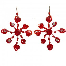 Handmade Bead Costume Jewellery, Fashion Handcrafted Women Gift, Red Beaded Flower Drop Earrings
