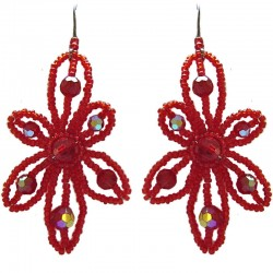 Red Beaded Glamour Flower Drop Earrings