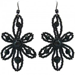 Handmade Bead Costume Jewellery, Fashion Handcrafted Women Gift, Black Beaded Glamour Flower Drop Earrings