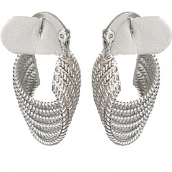 Silver Wave Twist Hoop Creole Earrings