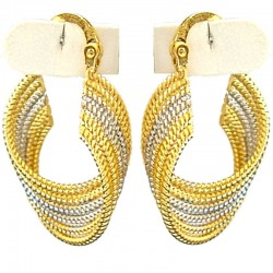 Gold Silver Two Tone Wave Twist Hoop Creole Earrings