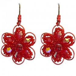 Red Beaded Daisy Flower Drop Earrings