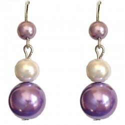 Fake Pearls Simulated Imitation Costume Jewellery, Fashion Women Girls Gift, Purple & White Faux Pearl Drop Earrings