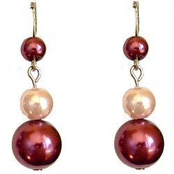 Fake Pearls Simulated Imitation Costume Jewellery, Fashion Women Girls Gift, Fuchsia & Pink Faux Pearl Drop Earrings