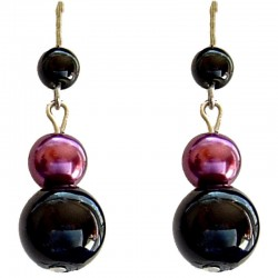 Fake Pearls Simulated Imitation Costume Jewellery, Fashion Women Girls Gift, Black & Fuchsia Faux Pearl Drop Earrings