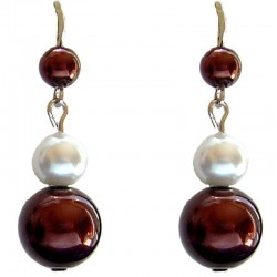 Fake Pearls Simulated Imitation Costume Jewellery, Fashion Women Girls Gift, Brown & White Faux Pearl Drop Earrings