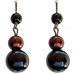 Black & Brown Faux Fake Pearls Simulated Imitation Costume Jewellery, Fashion Women Girls Gift, Pearl Drop Earrings