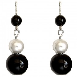 Fake Pearls Simulated Imitation Costume Jewellery, Fashion Women Girls Gift, Black & White Faux Pearl Drop Earrings