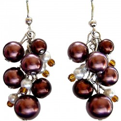Fake Pearls Simulated Imitation Costume Jewellery, Fashion Women Girls Gift, Brown & White Faux Pearl Cluster Drop Earrings