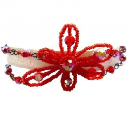 Handmade Bead Costume Jewellery, Fashion Handcrafted Women Girls Gift, Red Beaded Glamour Flower Double Strand Bracelet