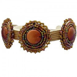 Brown Beaded Three Circle Multistrand Cord Bracelet