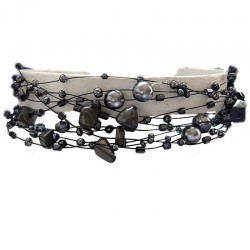 Unique Costume Jewellery, Haematite Multi Strand Floating Dark Grey Bead Cascade Bracelet