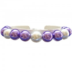 Fake Pearls Simulated Imitation Costume Jewellery Bracelets, Fashion Women Girls Gift, Purple & White Faux Pearl Bracelet