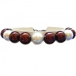 Fake Pearls Simulated Imitation Costume Jewellery Bracelets, Fashion Women Girls Gift, Brown & White Faux Pearl Bracelet