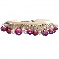 Fake Pearls Simulated Imitation Costume Jewellery Bracelets, Fashion Women Gift, Fuchsia & Pink Faux Pearl Charm Bracelet