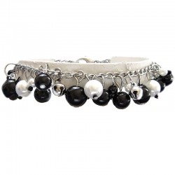 Fake Pearls Simulated Imitation Costume Jewellery Bracelets, Fashion Women Girls Gift, Black & White Faux Pearl Charm Bracelet