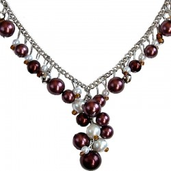 Brown & White Pearl Timeless Chain Dangle Necklace