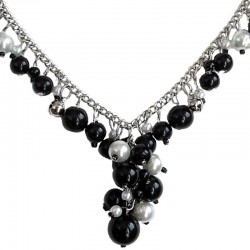 Black & White Pearl Timeless Chain Dangle Necklace