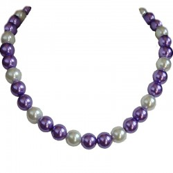 Purple & White Pearl Necklace