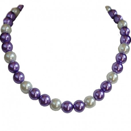 Fake Pearls Simulated Imitation Costume Jewellery Necklaces, Fashion Women Girls Gift, Purple & White Faux Pearl Necklace
