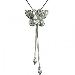 Classic Costume Jewellery Accessories, Fashion Women Girls Gift, Clear Diamante Double Butterfly Slide Chain Necklace