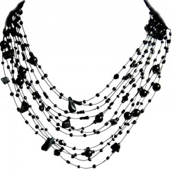 Handcrafted Costume Jewellery, Women Gift, Black Onyx Tumblechip Multi-strand Floating Black Pearl Bead Cascade Necklace