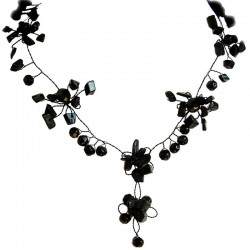 Handmade Costume Jewellery, Fashion Handcrafted Women Gift, Black Floral Bead Wire Y-shape Necklace