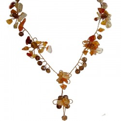 Brown Floral Bead Wire Y-shape Necklace