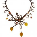 Brown Phoenix Floral Statement Bead Necklace