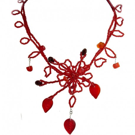 Handmade Bead Costume Jewellery, Fashion Handcrafted Women Gift, Red Phoenix Floral Statement Bead Necklace